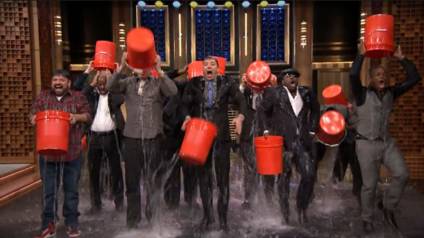 Jimmy Fallon and the Roots partake in the Ice Bucket challenge to raise awareness for ALS.