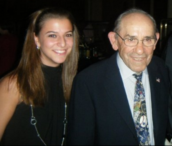 Photo Credit: Danielle McCartan (@CoachMcCartan). Danielle McCartan and Yogi Berra at the 2008 National Italian American Foundation (NIAF) dinner and gala.