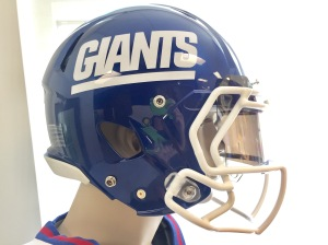 New York Giants' Thursday Night Football Color Rush helmet. Photo property of Danielle McCartan @coachmccartan