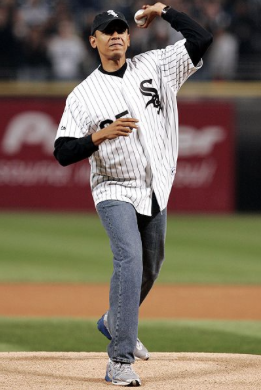 President Barack Obama throws out the ceremonial first pitch at a Chicago White Sox game in 2005. Joe Maddon and his Chicago Cubs are set to visit the White House, after winning the 2016 World Series, sometime in the next month.