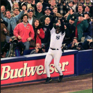 New York Yankees third baseman Charlie Hayes catches the final out of the 1996 World Series. Photo Courtesy of the NY Daily News.
